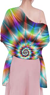 INWANZI Cozy Soft Women Shawl, Spiral Psychedelic tie dye Rainbow Wrap Scarf for Evening Dresses Party, Mother Bride Gifts