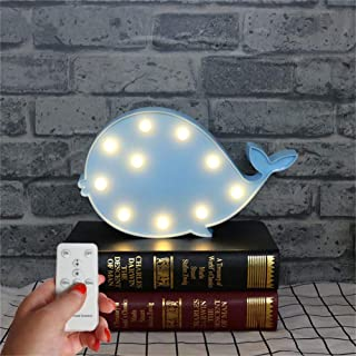 WINICE Cute Multicolor LED Night Light for Animals Clouds Stars Moon, Remote Control and Timer Setting Night Lamp for Children Kids Baby's Bedroom (Whale)