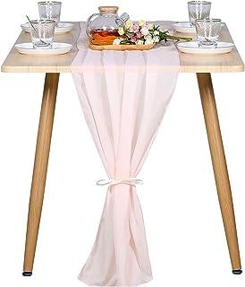 Blingbin Chemin de table en mousseline de soie de 3 m - Rose pâle - 73 x 306 cm - Décoration de mariage romantique
