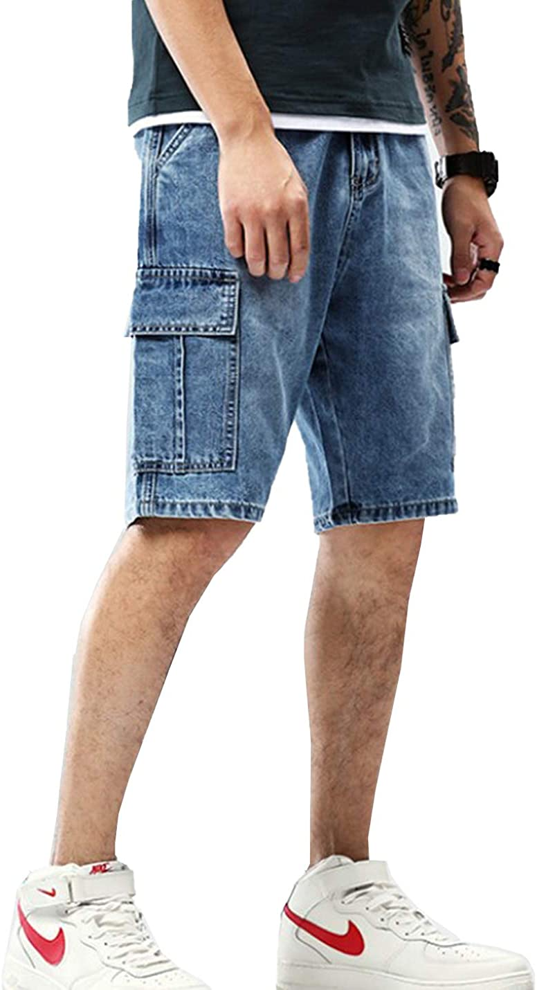 Flygo Mens Loose Knee Length Jeans Shorts Straight Leg Denim Cargo Short with Pockets