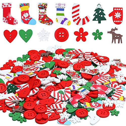 300 Pieces Christmas Wooden Buttons Cute Sewing Buttons Colorful Art Craft Buttons for Handmade Project, Mixed Sizes and Styles