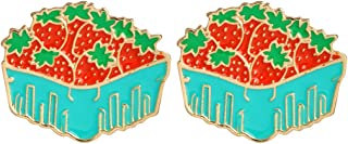 Strawberry Basket Lapel Pin 2 Piece Set Strawberry Enamel Brooch Pins Badges Clothes Accessories Gifts