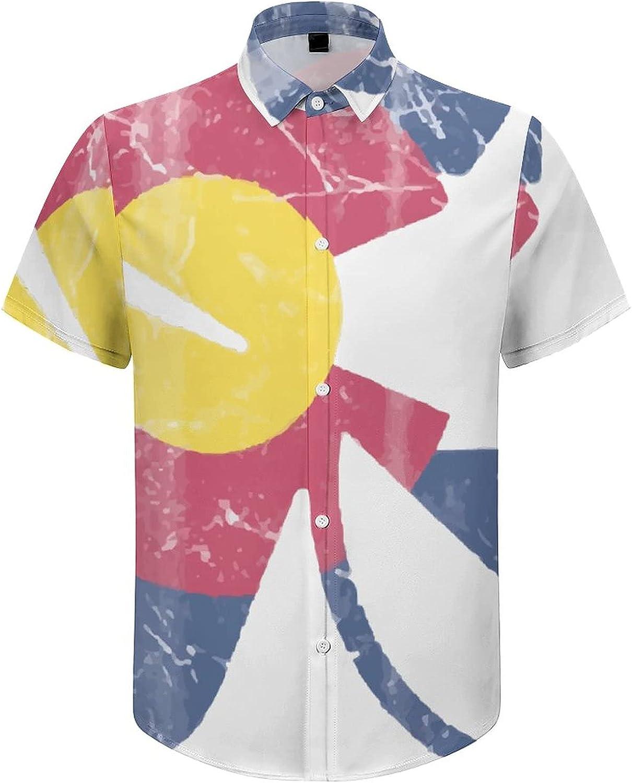 Mens Button Down Shirt Colorado Floral Flag Casual Summer Beach Shirts Tops