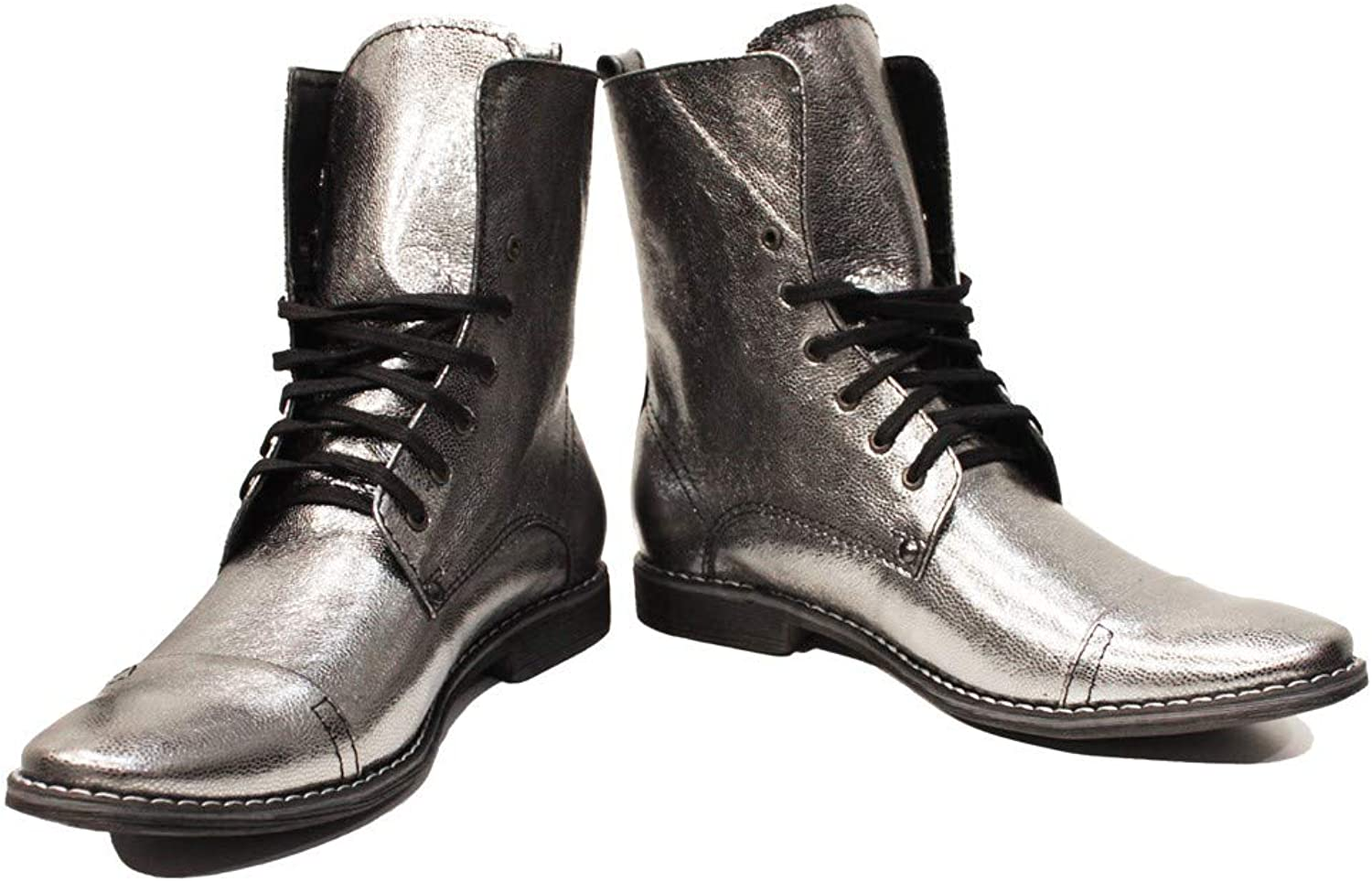 Peppeshoes Modello Silvero - Handmade Italian Leather Mens color Silver High Boots - Goatskin Smooth Leather - Lace-Up
