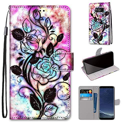 Miagon PU Cuir Coque pour Samsung Galaxy S8,Coloré Motif Portefeuille Étui Housse Cover avec Stand Support Porte-Cartes de Crédit,Fleur Feuille