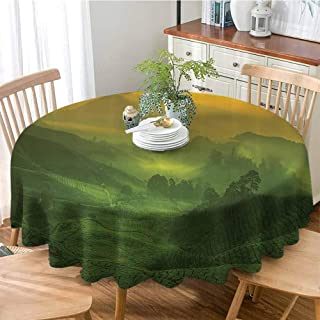 Room Decorations Collection Polyester Spillproof Tablecloths Sunrise View of Tea Plantation Field Freshness Morning at Cameron Highland Malaysia Image Table Cover for Kitchen Dinning Party 47 Inch Ro