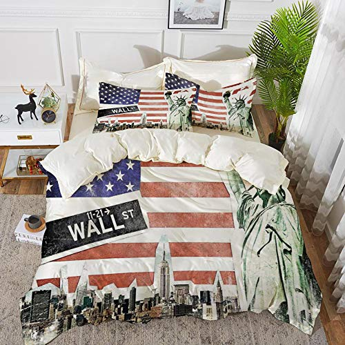 Luoquan 3 Piece Bedding Set,American Flag Decor,NYC Collage with Famous Monuments Wall Street and Manhattan Urban Display,Multi,1 Duvet Cover Set200 x 200,2 pillowcase 50x80cm