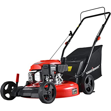 PowerSmart Lawn Mower, 21-inch & 170CC, Gas Powered Push Lawn Mower with 4-Stroke Engine, 3-in-1 Gas Mower in Color Red/Black, 5 Adjustable Heights (1.18''-3.0'' ), DB2194PR