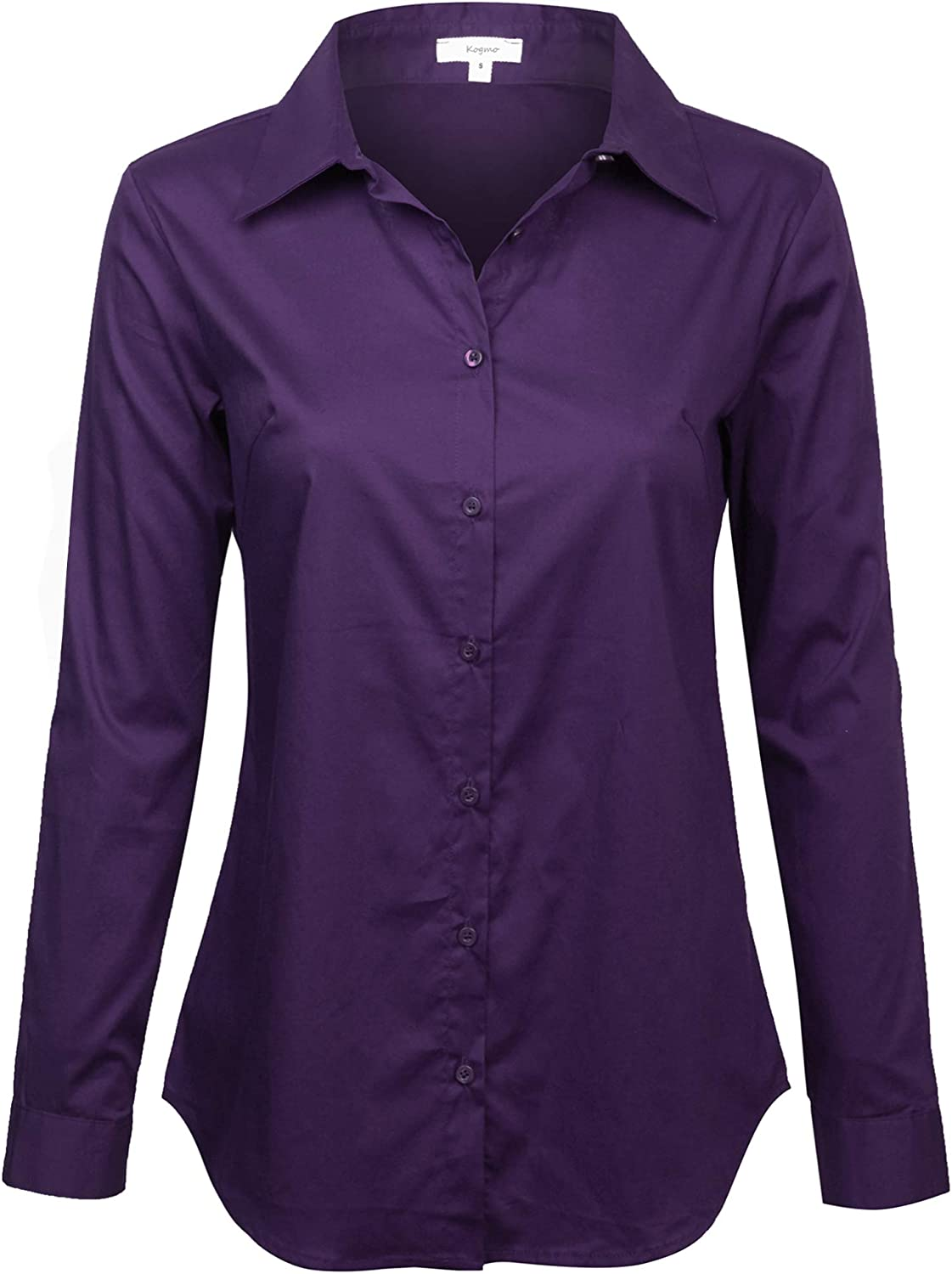 KOGMO Womens Basic Long Sleeve Button Down Shirts Office Work Blouse Regular Fit (S-3X)