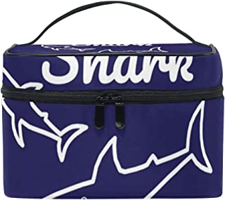 Cosmetic Makeup Bags with Funny Mama Shark Quote Print - Toiletry Case for Women Girls