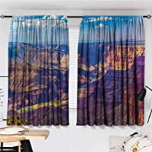 "Decorative Curtains for Living Room, House Decor, Aerial View of Epic Grand Canyon Activity of River Stream over Rock Plateau Print, Great for Living Rooms and Bedrooms, 72""x45"", Blue Tan"
