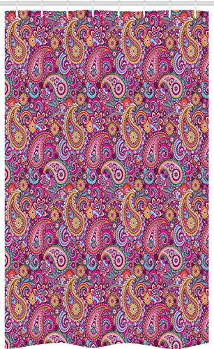 ABAKUHAUS Paisley Schmaler Duschvorhang, Asiatische Blumen & Sonne, Badezimmer Deko Set aus Stoff mit Haken, 120 x 180 cm, Mehrfarbig