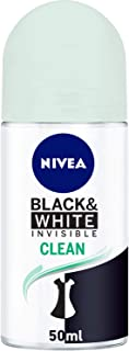 NIVEA Black and White Invisible Clean Antiperspirant for Women Roll-on, 50 ml