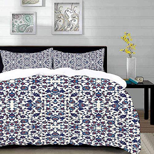 Bettwäsche-Set,Mikrofaser,Arabesque,marokkanisches Blumenmuster mit viktorianischem Rokoko-Barock-Design,Crem ,Ultra Soft hypoallergen Bett-Bezug,1 Bettbezug 220 x 240cm + 2 Kopfkissenbezug 80x80cm
