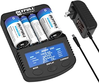 Dlyfull Pro Fast Battery Charger with LCD Display, 4 Slots Smart Battery Charger for 3.7V Li-ion 26650 22650 26500 18650 17500 17335 14500 & A AA AAA AAAA C SC D Ni-MH/CD Rechargeable Batteries