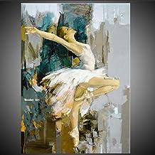 SANSNMI Fashion Canvas Art Hand Painted Modern Ballerina Dancer Oil Painting Spanish Dancer Painting Art Wall Art For Livi...