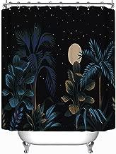 YOLIYANA Tropical Night Vintage Palm Tree Banana Vector Shower Curtain Various Shower Curtain 71''Long x 59''Wide