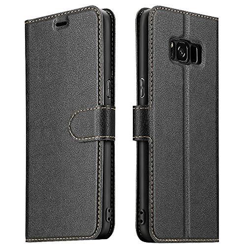 ELESNOW Hülle für Samsung Galaxy S8, Premium Leder Flip Wallet Schutzhülle Tasche Handyhülle für Samsung Galaxy S8 (Schwarz)
