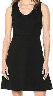 Lark & Ro Womens Dress Deep Black US Size 10 A-Line V-Neck Belted Solid