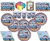 Piraten Kinder Party Geburtstag Dekorationen Teller Tassen Servietten Tischdecke mit kostenlosen Luftballons und Fotorahmen-16 Gäste