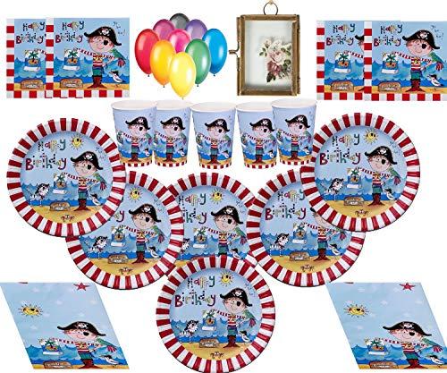 Pirate Party Supplies Fiesta Infantil Pirata Decoraciones de cumpleaños Platos Tazas Servilletas Tapa de Mesa con Globos y Marco de Fotos gratis-16 Invitados