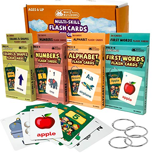 Flash Cards Toddlers Kids : 4Packs Alphabet ABC Letter Numbers Math Shapes Preschool Sight Words Flashcards Games , Baby Learning Educational Kindergarten Homeschool Supplies Material All Ages & Years