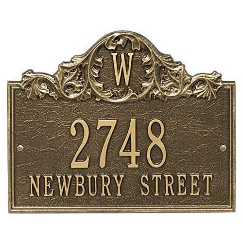 Personalized Cast Metal Address plaque with Monogram displays your address and street name - Comfort House # P2556 Custom House Number Sign