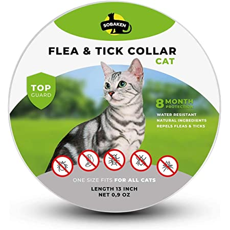 SOBAKEN Flea Collar for Cat, Natural Flea Collar, Flea and Tick Prevention for Cats, One Size Fits All, 13 inch Charity