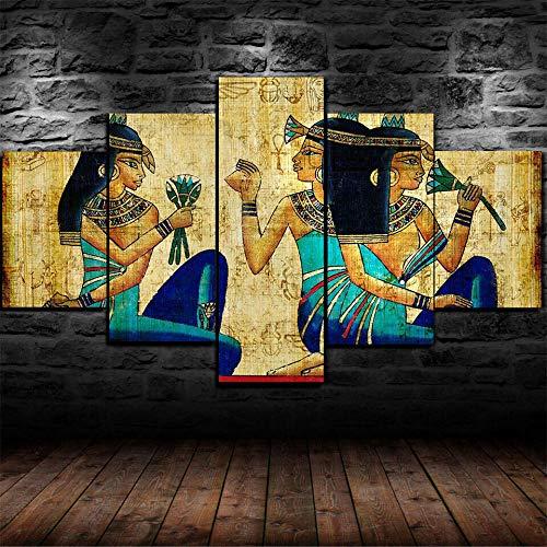 lcyab-Dos Tamaños, Decoración De La Cocina del Dormitorio De La Sala De Estar-Lienzo Jeroglíficos Egipcios Antiguos-5 Impresiones En Lienzo, Decoración del Hogar