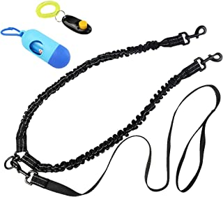 Poualss Double Dog Leash 360° Swivel No Tangle Double Dog Walking Leash Dual Dog Leash Shock Absorbing Reflective Bungee with Bonus Waste Bag Dispenser and Dog Training Clicker