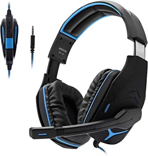 PS4 Headsets, Anivia AH18 Over-Ear Stereo Gaming Headset with Mic for Nintendo Switch, Xbox one, PC Computer, Noise Isolating Headphones with Mic, Bass Surround, Soft Memory Earmuffs, Black Blue