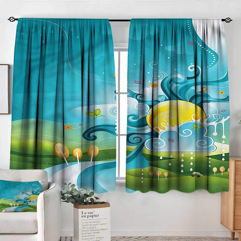 Sanring Kids,Bedroom Drapes Natural Landscape View Cartoon 42 X72  Decor aterproof Indo Curtain