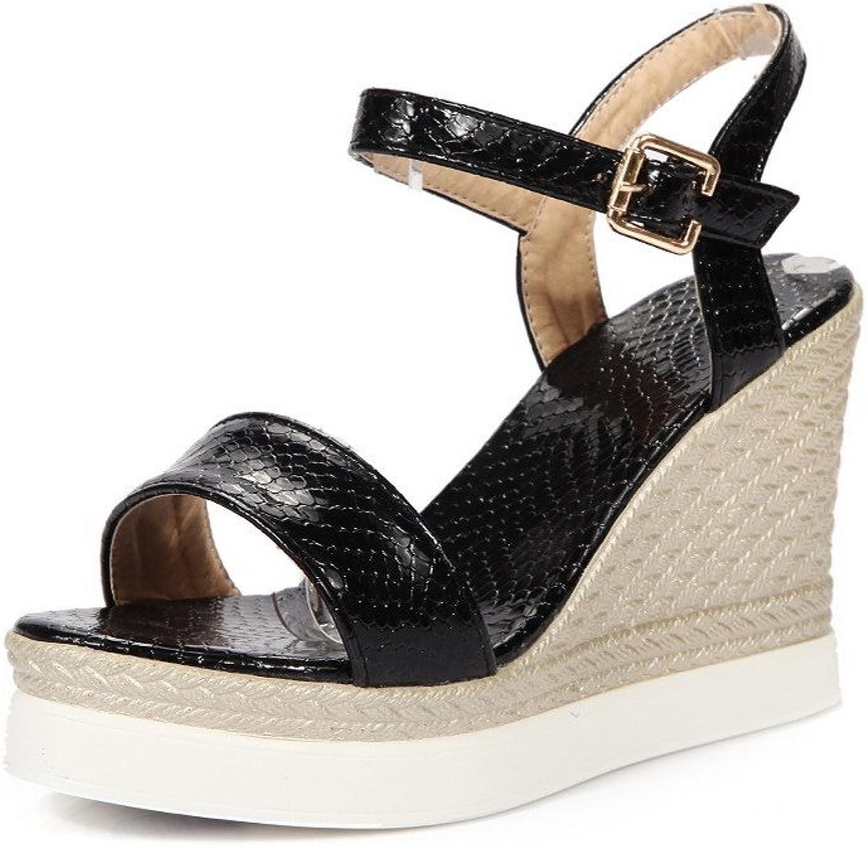 WeenFashion Women's Snake Skin Open Toe High Heels Buckle Solid Sandals