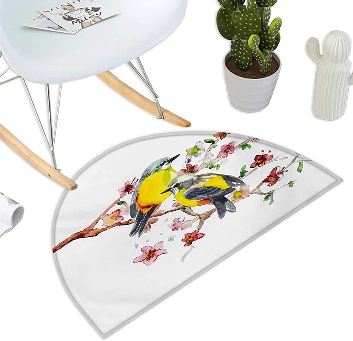 Nature Semicircle Doormat Watercolor Style Effect Drawing of Birds on The Branches and Flowers Print Halfmoon doormats H 23.6  xD 35.4  Brown and Yellow