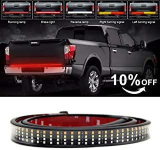 LED Tailgate Light Bar 60 inch 624LED Quad Row Truck Tailgate No Need Drill Install Turn Signal Brake Reverse Tail light for Pickup Trailer SUV VAN Car White/Red/Yellow (Quad 3color OPL5)
