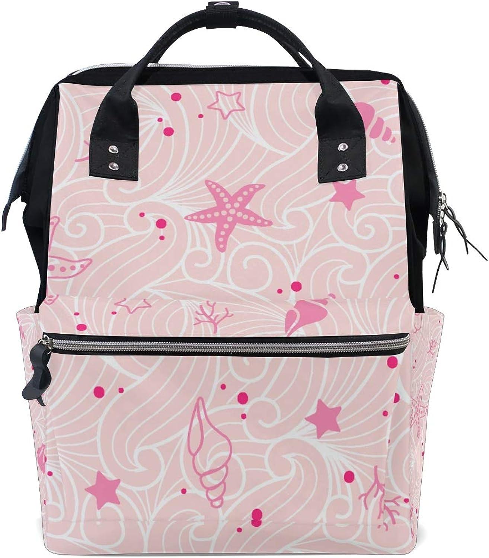 ColourLife Diaper Backpack Pink Shellfish Beach Tote Bag