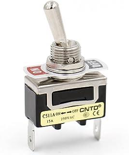 Heschen Metall Kippschalter, SPST gehalten, ON/OFF, 2 Positionen, 15 A, 250 VAC, 2 Klemmen, CE.