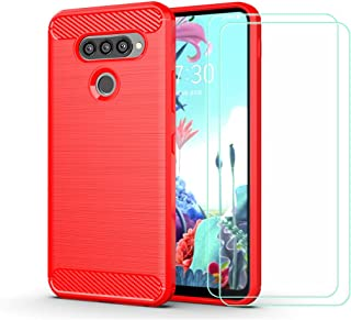 YZKJ Skal för LG Q70, silikon kolfiber TPU Cover skyddsskal [2 st] pansarglas skärmskydd för LG Q70 (6,4 tum) – röd