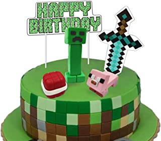 Pixel Party Birthday Cake Decoration Video Game Cake Toppers