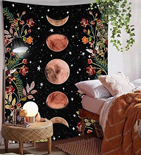 Tapiz bohemio retro Flor de luna Tapiz de moda Dormitorio familiar Decoración Paño de pared Paño de fondo a19 130x150cm