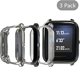 (3 Pack) Seltureone Cases Compatible for Amazfit Bip by Huami, Full Body Protection TPU Anti-Scratch Cover for Amazfit Bip- Clear+Black+Gray