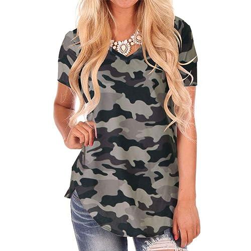 f916cb2a84 Dasbayla Women s Loose Short Sleeve T-Shirt Casual V Neck Tops High Low  Design