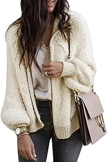 Womens Sherpa Fuzzy Cardigans Oversized Zip Up Hooded Open Front Sweater Coat Fleece Outwear