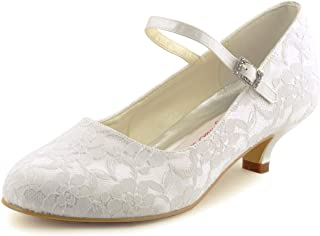 100120 Women's Round Toe Cone Heel Satin Lace Buckle Wedding Bridal Shoes
