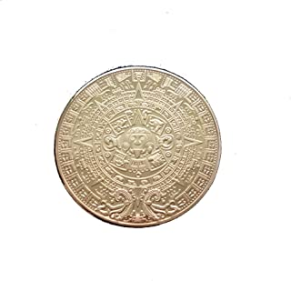CYNDIE Metal Maya Aztec Calendar Commemorative Coin Silver/Gold Plated Gift Collection