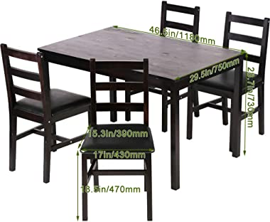 Kitchen Table and Chairs for 4 Dining Room Table Set,Wood Elegant Kitchen Sets for Small Space,Dark Brown