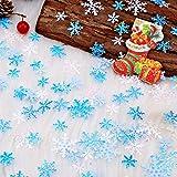 HOWAF 500 Stück Weihnachten Schneeflocken Konfetti, Weihnachten Winter deko Blau und Weiß Schneeflocken Streudeko Schneeflocken Konfetti Tischdeko, Hochzeit, Geburtstag, Weihnachts Dekorationen - 3