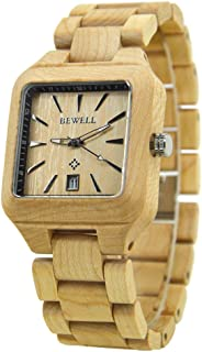 Bewell 110A Business Square Wooden Watches with Date, Beige Casual Luminous Analog Japanese Quartz Wristwatch for Men