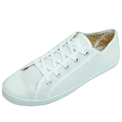 43f12cc338b03d Ladies Lace-up White Canvas Flat Trainer Plimsoll Pumps Casual Shoes Sizes  3-7