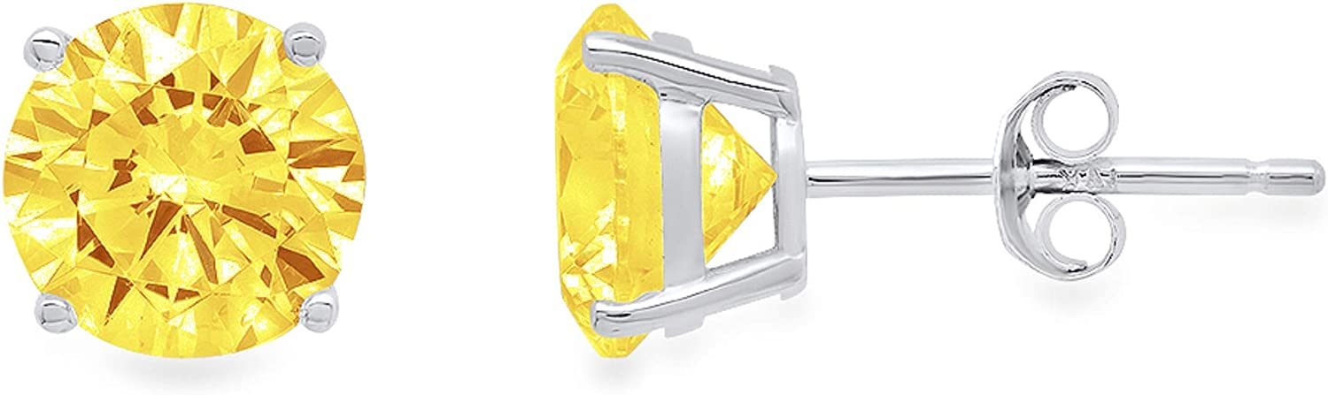 4.0 ct Round Cut ideal VVS1 Conflict Free Gemstone Solitaire Canary Yellow CZ Classic Designer Stud Earrings Solid 14k White Gold Push Back
